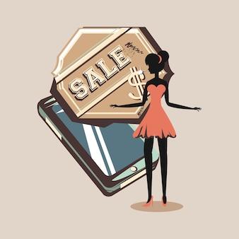 Frau mit handyverkaufsstempel-dollarretrostil
