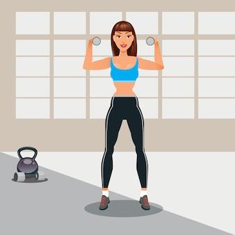 Frau mit hanteln. fitness mädchen. gesunder lebensstil. vektor-illustration