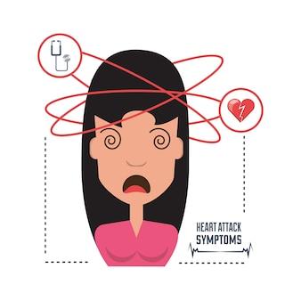 Frau mit herzinfarktsymptomen und zustand