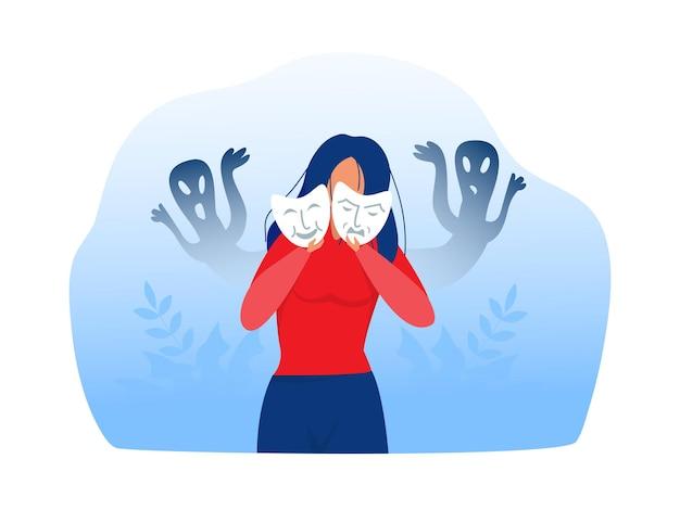 Frau mit hochstapler-syndrom, die karnevalsmasken mit glücklichen oder traurigen ausdrücken anprobiert