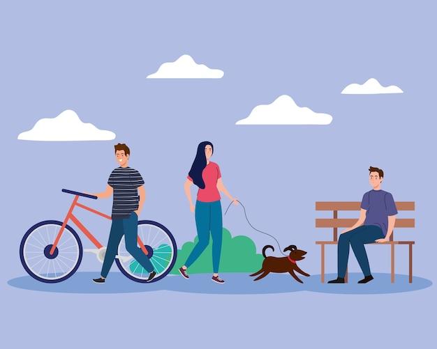 Frau mit hund und männern am parkentwurf, an der aktivität im freien und am jahreszeitenthema.