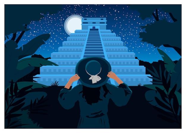 Frau mit hut mit blick auf die maya-pyramide. gezeichnete flache illustration der vektorfarbe hand auf hintergrundpanorama-nachthimmel