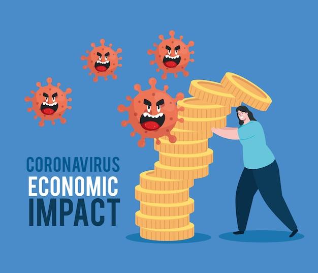 Frau mit ikonen der wirtschaftlichen auswirkung durch covid 2019