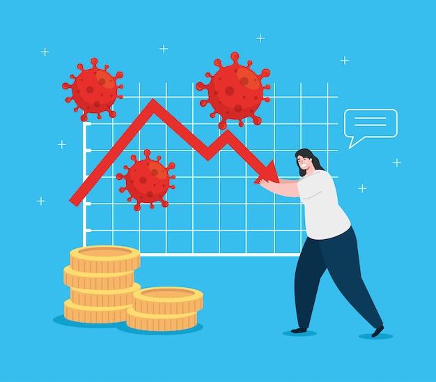 Frau mit infografik der wirtschaftlichen auswirkungen von covid 2019