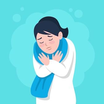 Frau mit kaltem zittern
