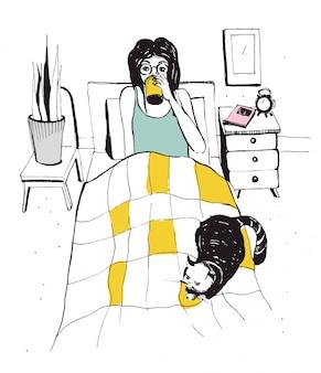 Frau mit katze auf dem bett. vektor hand gezeichnete illustration.
