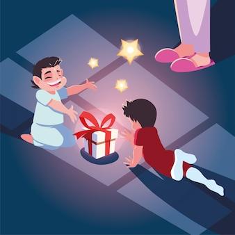 Frau mit kindern in der weihnachtsabendszene