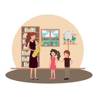 Frau mit kindern und saxophoncharakter