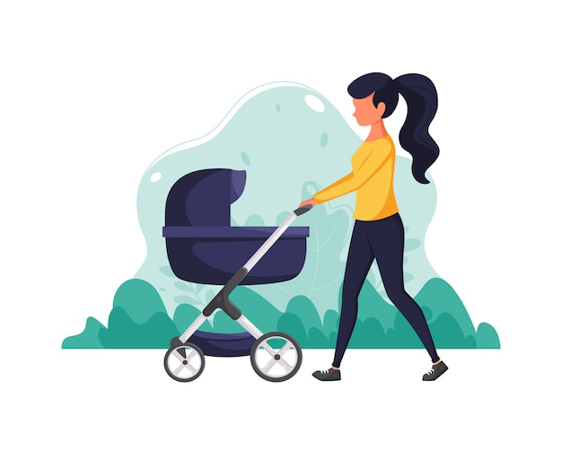 Frau mit kinderwagen auf naturhintergrund. konzeptillustration für mutterschaft, familienlebensstil. illustration im flachen stil.