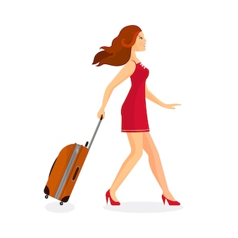 Frau mit koffer geht in flughafenterminal.