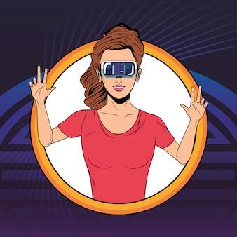 Frau mit kopfhörer der virtuellen realität