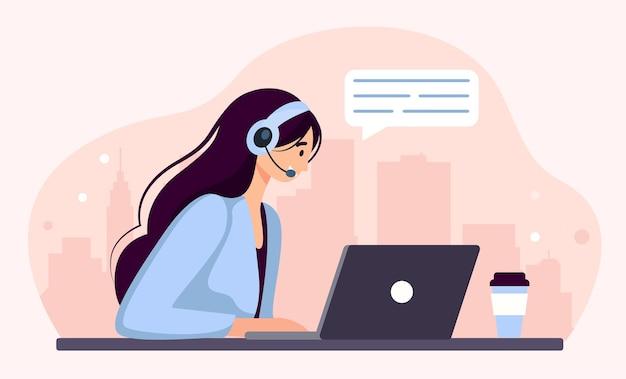 Frau mit kopfhörern und mikrofon am computer. konzeptillustration für support, unterstützung, call center. kontaktiere uns. vektorillustration im flachen stil der karikatur