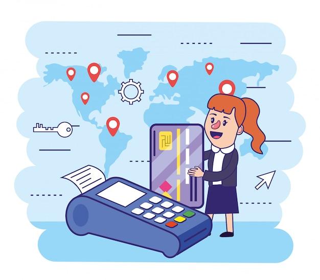 Frau mit kreditkarte und elektronischem datenfunkgerät