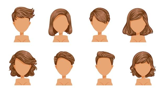 Frau mit kurzen haaren. schöne frisur braunes haarset. marionette moderne mode für sortiment. kurzes haar, lockiges haar, salonfrisuren und trendiger haarschnitt.