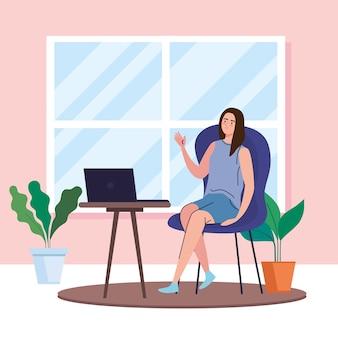 Frau mit laptop am schreibtisch, der vom hauptentwurf des telearbeits- und aktivitätsthemas arbeitet.
