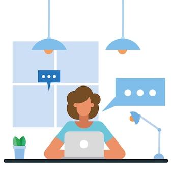Frau mit laptop am schreibtisch im bürodesign, in der belegschaft der geschäftsobjekte und im unternehmensthema