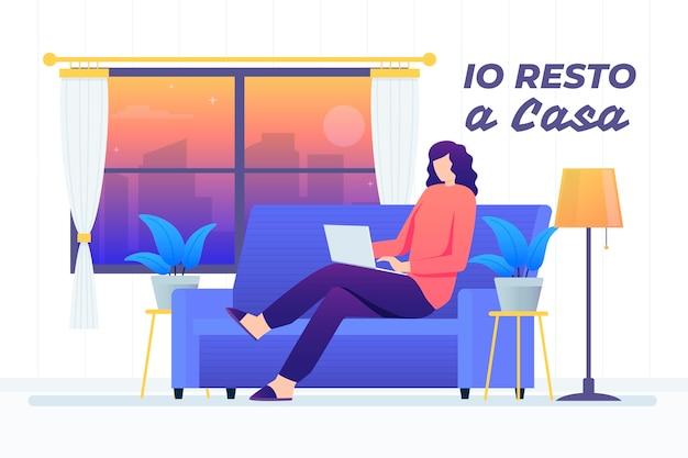Frau mit laptop auf der couch