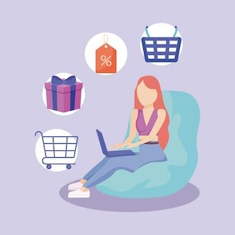 Frau mit laptop und handelsillustration