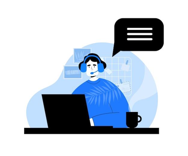 Frau mit laptop und kopfhörern. call center. technischer support. service-center-konzept
