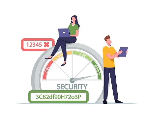 Frau mit laptop und mann mit tablet in der nähe eines riesigen passwortsicherheitsbereichs mit schlechter, durchschnittlicher, guter und ausgezeichneter sicherheit. charaktere erstellen datenschutz. cartoon-menschen-vektor-illustration