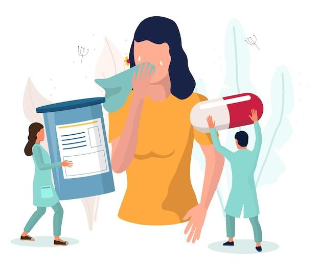 Frau mit laufender nase, tränenden augen, husten, vektorillustration, anaphylaxie, allergiesymptome,...