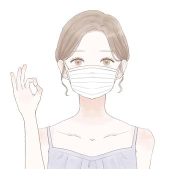 Frau mit maske und ok-zeichen. auf weißem hintergrund.