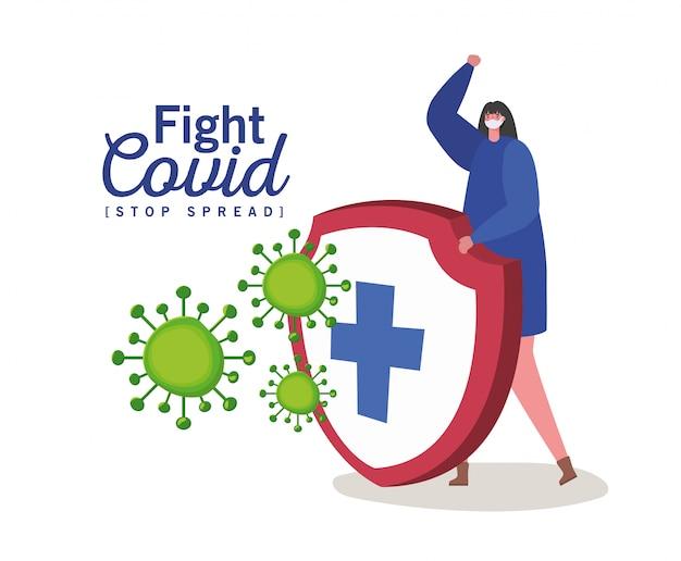 Frau mit maske und schild mit kreuzkampfvirus