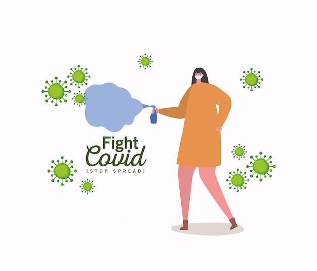 Frau mit maske und spray bekämpfen virus