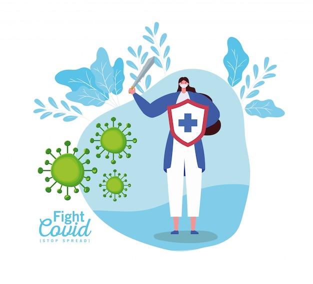 Frau mit maskenschild und schwertkampfvirus
