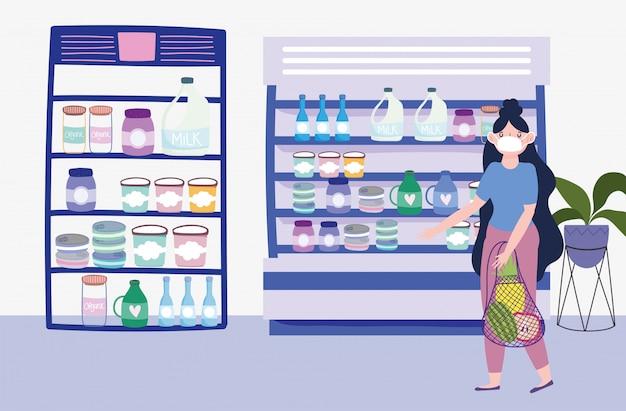 Frau mit medizinischer maske und umweltfreundlicher tasche in der marktillustration