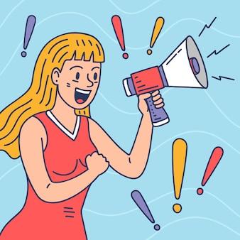 Frau mit megaphon schreit künstlerisch illustriert