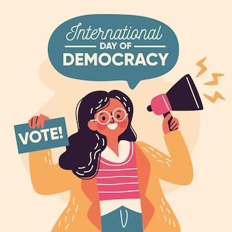 Frau mit megaphontag der demokratie