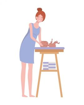 Frau mit neugeborenem baby beim windeländern