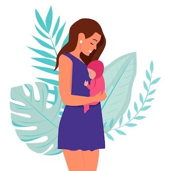 Frau mit neugeborenen, konzeptvektorillustration im niedlichen cartoon-stil, gesundheit, pflege, mutterschaft