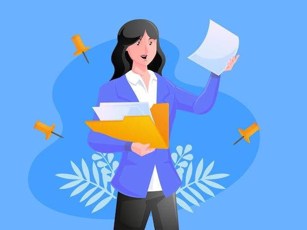 Frau mit ordner mit dokumenten betriebswirtschafts- und datenspeicherkonzept