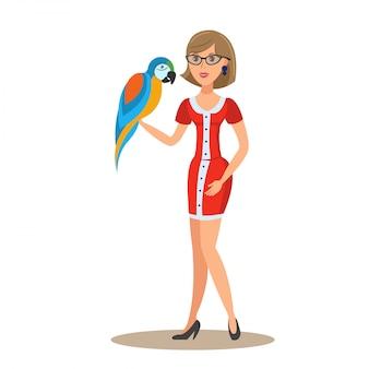 Frau mit papagei-flacher vektor-farbillustration