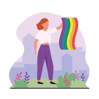 Frau mit regenbogenfahne zur lgbt feier