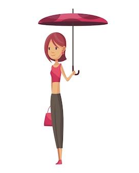 Frau mit regenschirm, der unter regen steht.