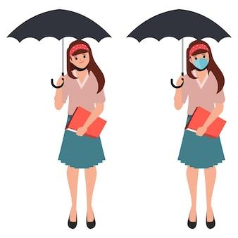 Frau mit regenschirmpose