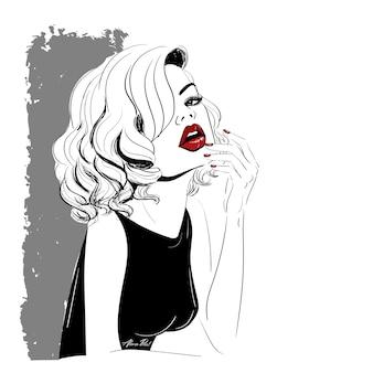 Frau mit roten lippen und locken