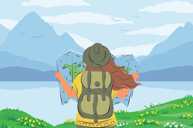 Frau mit rucksack und kartenwelt in den händen bereit zum reisen weibliche touristin in wanderkleidung