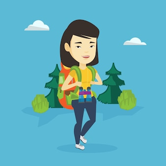 Frau mit rucksackwanderillustration.
