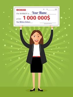 Frau mit scheck für eine million dollar in händen. geld und geschäft, finanzerfolg reich, lotterie und auszeichnung
