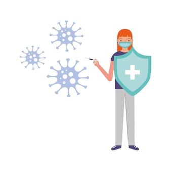 Frau mit schild zwischen virus-kovid-19-karikatur. vektor-illustration