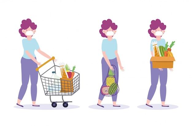 Frau mit schutzmaske und einkaufswagen tasche und box mit lebensmittelillustration