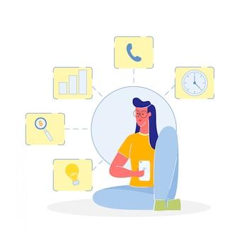Frau mit smartphone-farbvektor-illustration