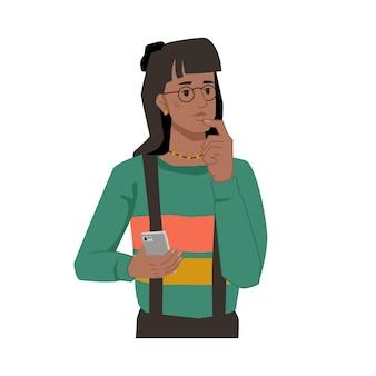 Frau mit smartphone in den händen nachdenkliches gesicht