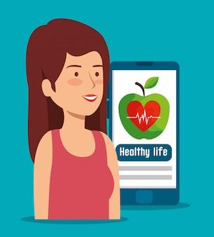 Frau mit smartphone und gesundem lebensstil zum herzschlag
