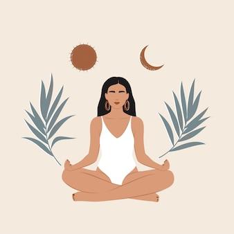 Frau mit sonne und mond, die in lotussitz meditieren