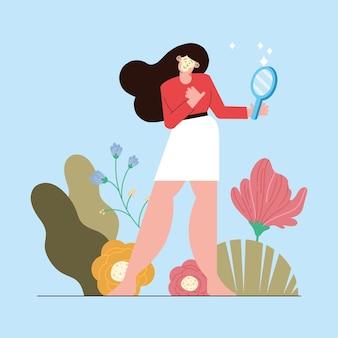 Frau mit spiegel-selbstpflege-charakter
